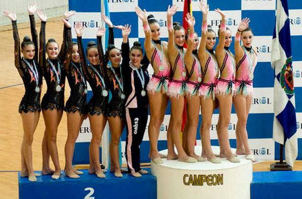 PODIUM JUNIOR: conxunto Club Ximnasia Pavillón 1o clasificadas (Nerea, María, Antía, Ana, Sara e Blanca)
