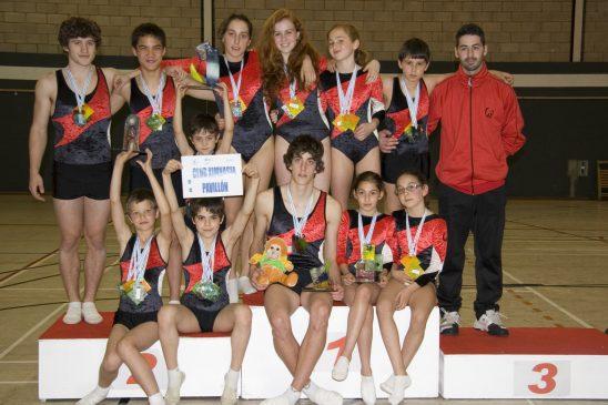 Oito ximnastas para historia do trampolín no Ximnasia Pavillón