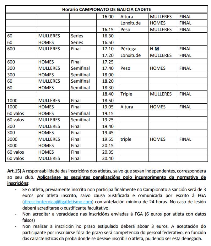 Atletismo: Cpto. de Galicia Cadete de Pista Cuberta @ San Ciprián de Viñas | Galicia | España