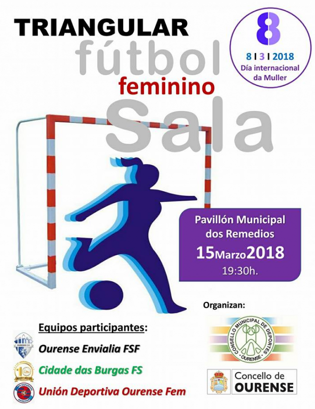 """Futsal: Torneo Triangular """"Día Internacional da Muller"""" @ Pabellón dos Remedios"""