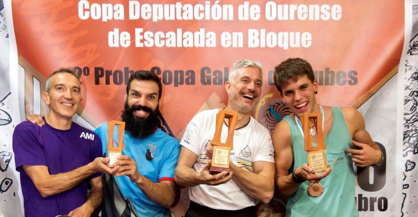 Podium Copa Galega por Clubs. 1º Asesou 2º Indoorwall Club de escalda 3º AMI y Club Montañeiros Celtas.