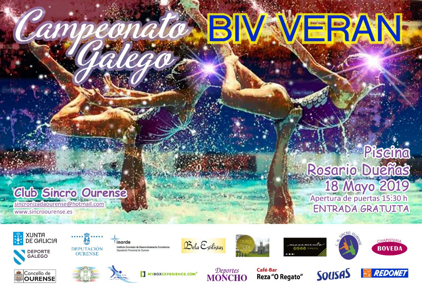 Campeonato Galego BIV de Verán de natación artística @ Piscina Rosario Dueñas | Orense | Galicia | España