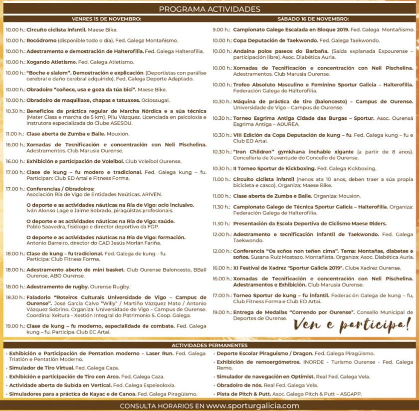 sportur galicia 2019 programa